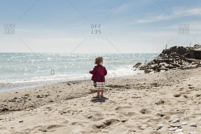 Little girl standing on sandy beach