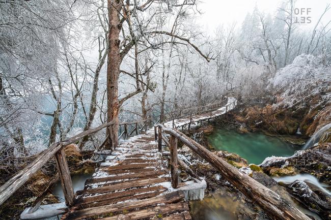 Winter Path In Plitvice Lakes National Park Lika Senj