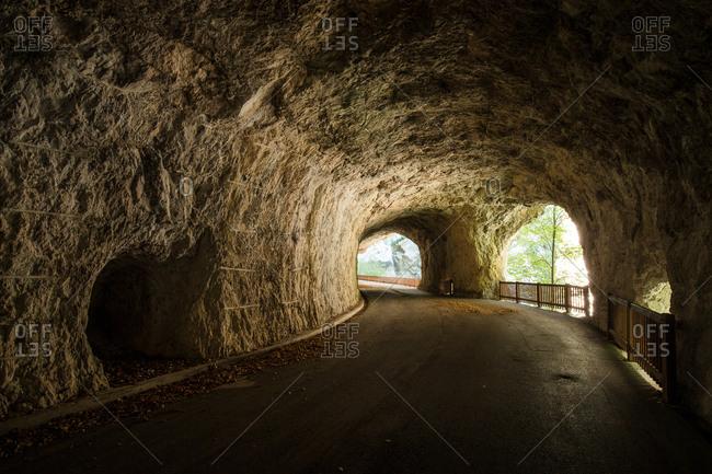 The old road of Valcellina in the Cellina Ravine Reserve, dolomites friuliane, Friuli Venezia Giulia, Italy.