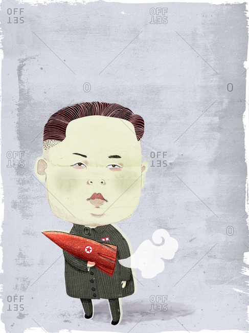 Kim Jong-in holding a nuclear weapon