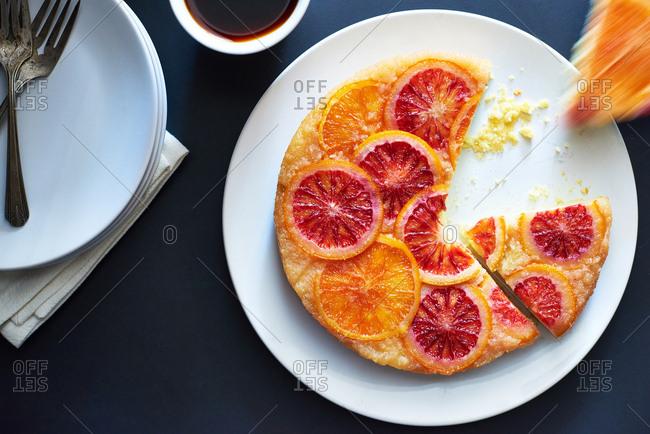 Scrumptious citrus cake being served