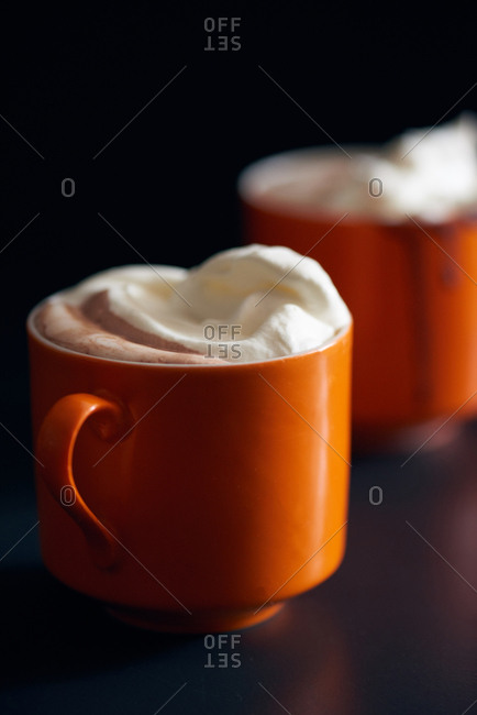 Mugs of rich, creamy hot chocolate