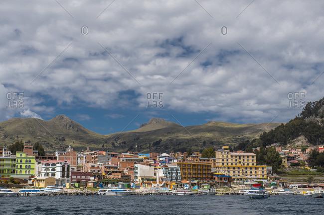 Copacabana, La Paz, Bolivia - May 5, 2017: Copacabana town on Bolivian side of Titicaca lake (3,841m)