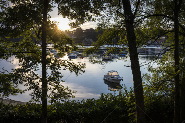 Lezardrieux, Bretagne, France - August 9, 2017: Moorage on quiet waters