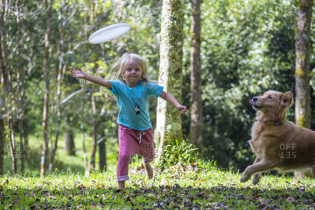 Little girl playing flying disc with her dog in park, Bedugul, Bali, Indonesia