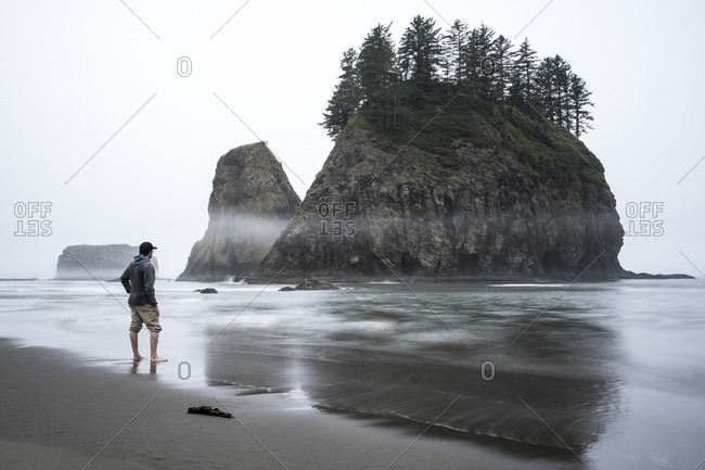 Man on beach looking at view of small rocky island with trees, Second Beach, La Push, Washington State, USA