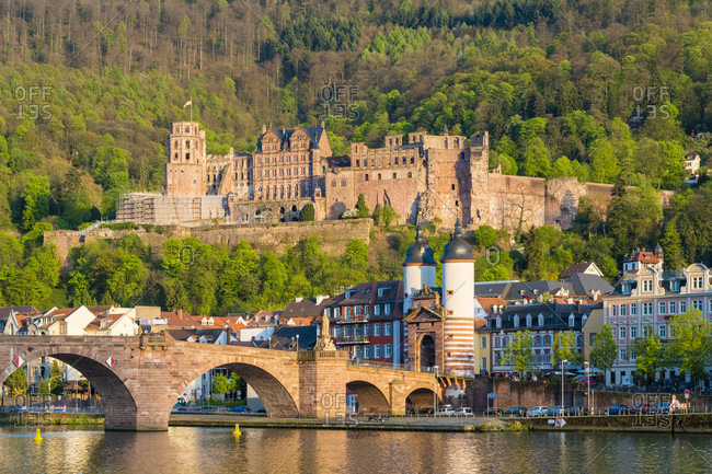 Alte Brucke (old bridge), Heidelberg Castle and buildings in Altstadt (old town), Heidelberg, Baden-Wurttemberg, Germany