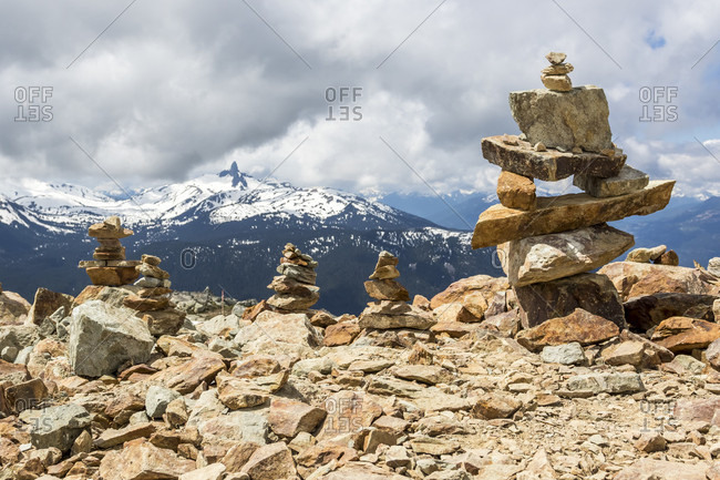 Cairns and Inukshuks at Whistler Blackcomb, Black Tusk mountain visible in background, Whistler, British Columbia, Canada