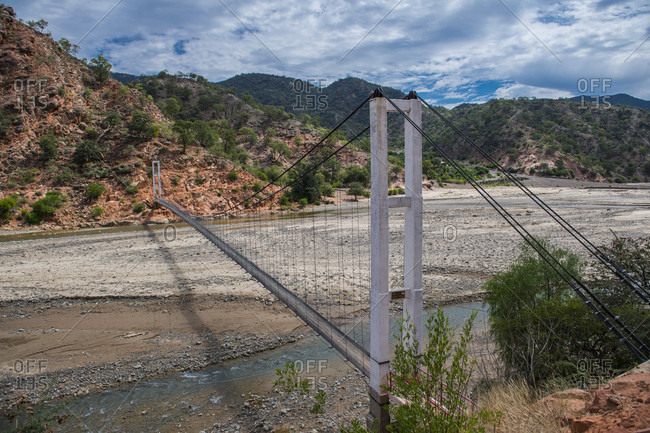 Suspension bridge for pedestrians, Oruro, Alitplano, Bolivia