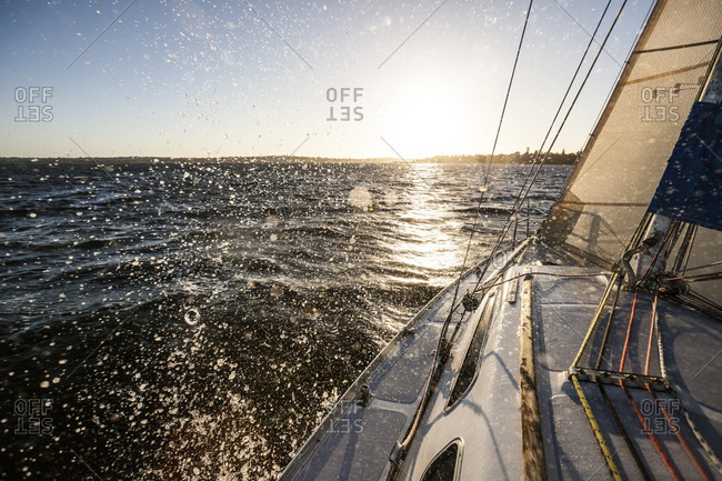 View from sailboat sailing in sea, Perth, Western Australia, Australia