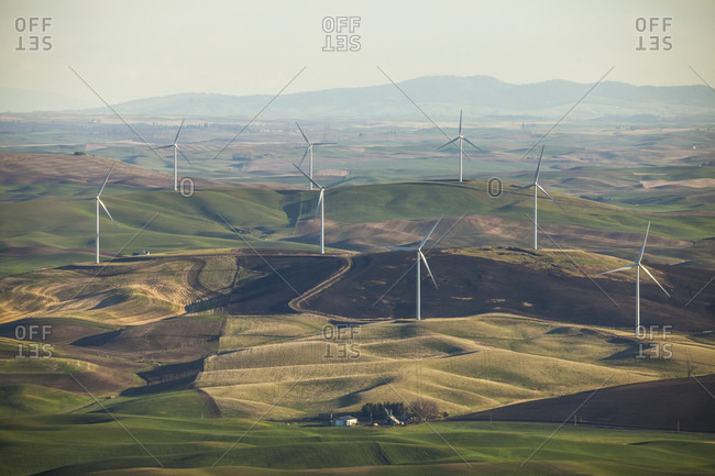 Wind turbines at Snake River Wind Facility, Lower Snake River, Washington, USA