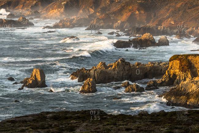 Sunset at Garrapata Beach on Big Sur coast, California, USA