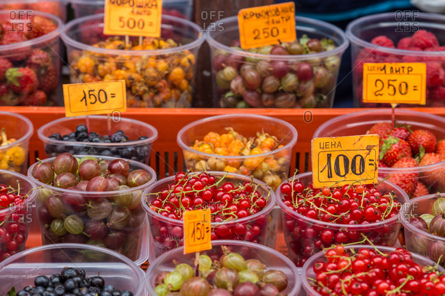 Berries for sale at a Russian market in St. Petersburg, Russia