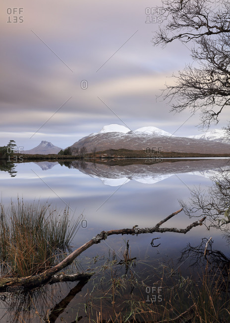 Loch Cul Dromannan and mountain scenery in the Scottish highlands