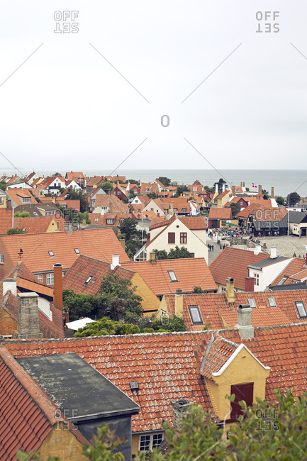 Rooftops in small village on the island of Bornholm in Denmark