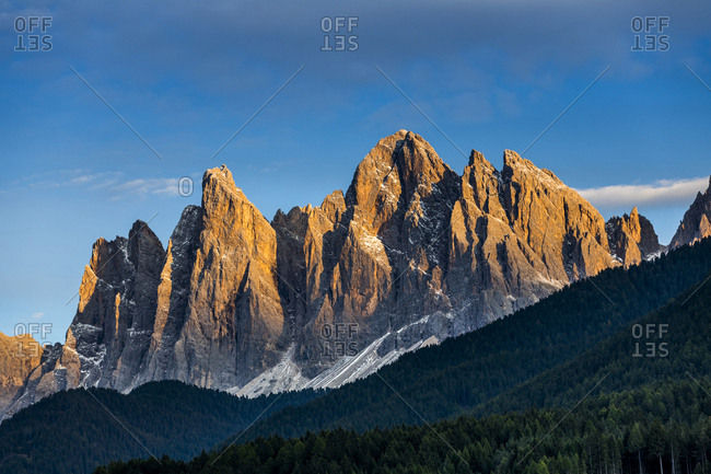 Rugged peaks of the Dolomite Mountains in northern Italy