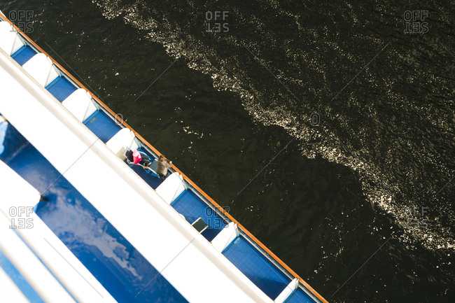 Overhead view of women on a cruise ship
