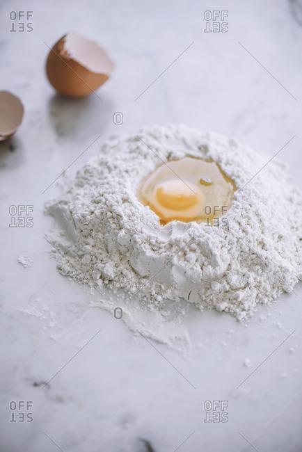 Raw egg and flour