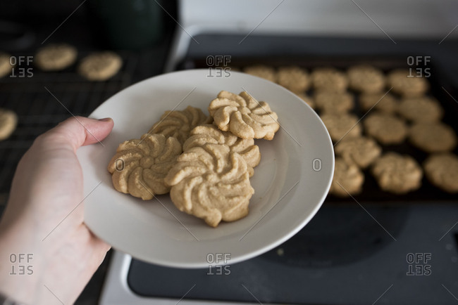 Fresh baked cookies held out on plate