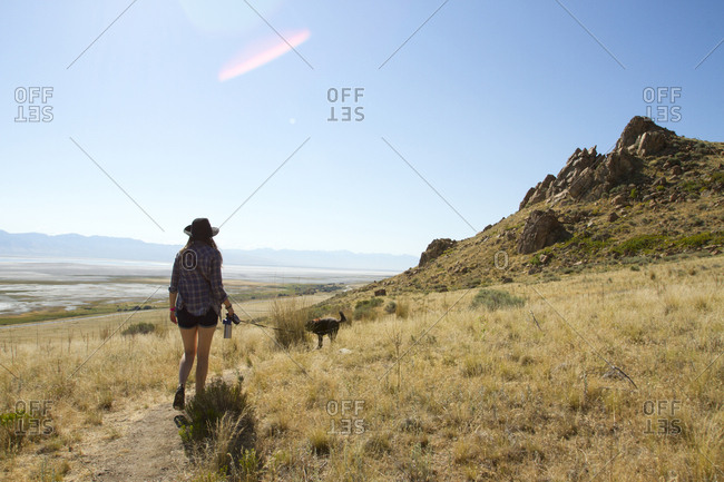 Rear view of woman with dog walking on grassy field against sky during sunny day