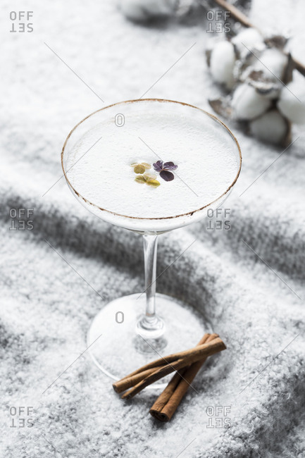 Martini on display with cinnamon and cotton