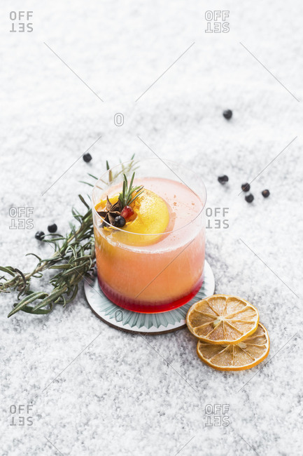 Fruity beverage on display with fruit garnish