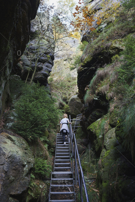 ... Low Angle View Of Boy Moving Up On Metallic Staircase Amidst Rock  Formations In Forest