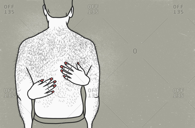 Rear view of shirtless man with woman's hands on back against gray background