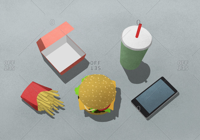 Illustration of fast food with drink and mobile phone against gray background