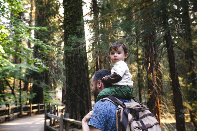 USA- California- Father and baby visiting Sequoia National Park