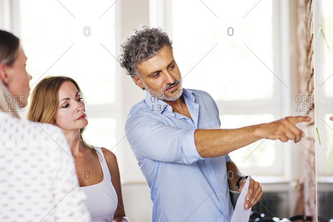 Businessman explaining new strategy to his colleagues
