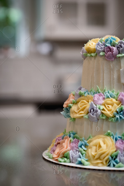 Close-up of decorated cake in bakery