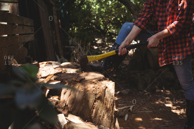 Low section of woman cutting wood in garden