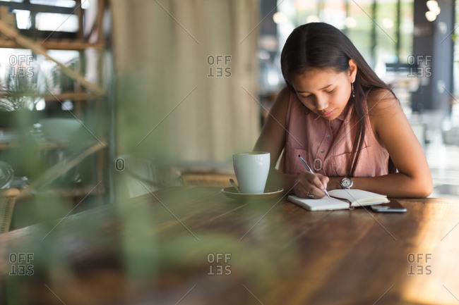 Teenage girl writing on a diary in restaurant