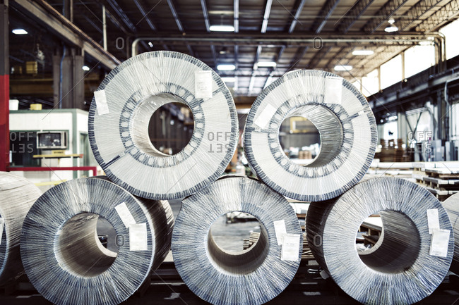 Rolled up steel sheets at industry