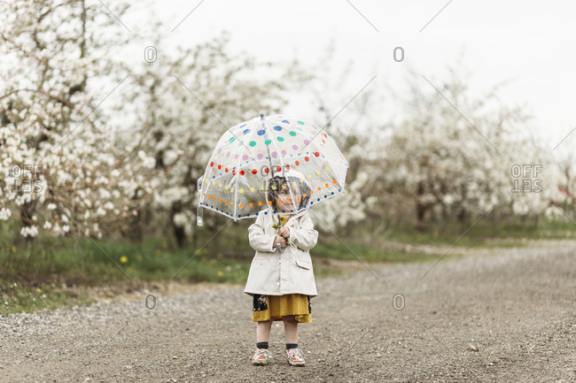 Little girl holding a polka dot umbrella in the rain