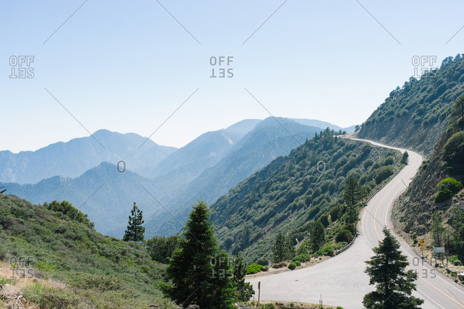 Winding road on tree covered hillside