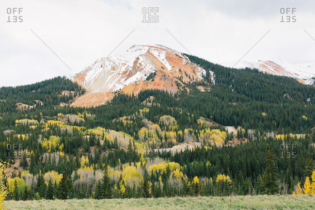 Snow-capped mountain in Colorado during fall