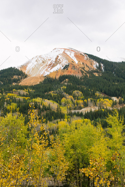 Snowy mountain in Colorado during fall