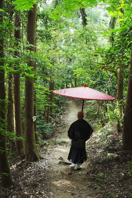 Rear view of Buddhist monk wearing black robe walking down a forest path, carrying traditional red Japanese umbrella