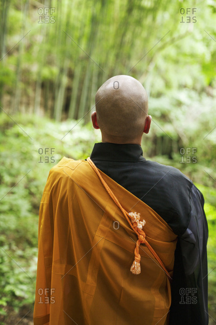 Rear view of Buddhist monk with shaved head wearing black and yellow robe, standing outdoors