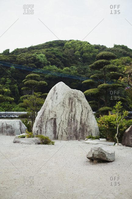 Stone rock in a Japanese Buddhist temple garden