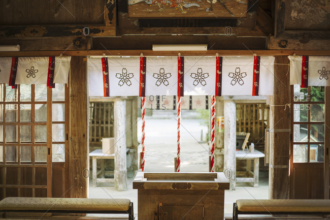 Interior view of Shinto Sakurai Shrine, Fukuoka, Japan