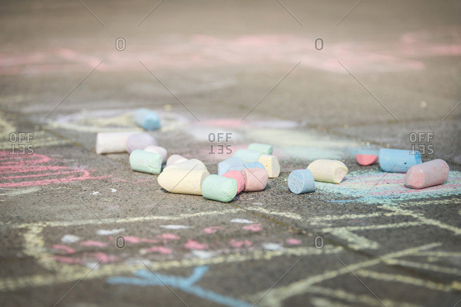 Chalk drawings on sidewalk, Munich, Bavaria, Germany