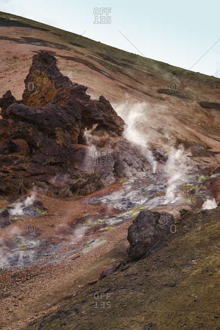 Steam in volcanic landscape, Iceland
