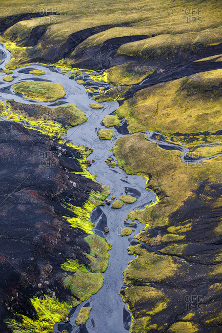 Riverbed in rocky landscape, Iceland