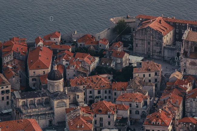 Dubrovnik, Dalmatia, Croatia - September 11, 2012: Aerial view of Old Town of Dubrovnik, Dalmatia, Croatia