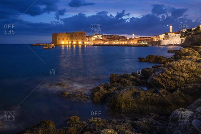 Night view of Dubrovnik, Dalmatia, Croatia