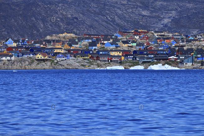 Village on water's edge, Arctic Ocean, Greenland