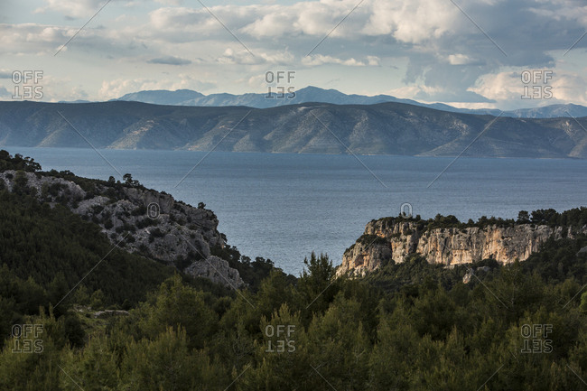 Croatian coastline seen from Hvar island, Dalmatia, Croatia